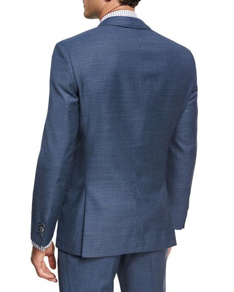 Micro-Check Wool Sport Coat, Light Blue