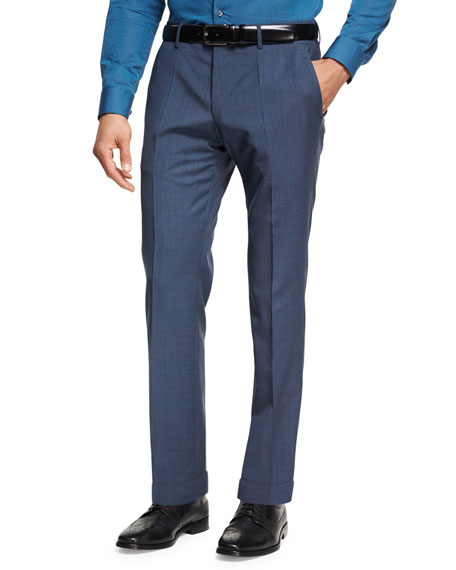 Wool-Cashmere Flat-Front Pants, Light Blue