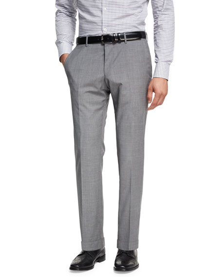 BOSS Wool-Cashmere Flat-Front Pants, Light Gray