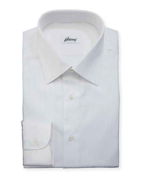 Brioni Tonal-Stripe Cotton Dress Shirt, White