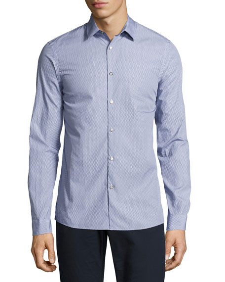 Michael Kors Dot-Print Slim-Fit Stretch Shirt, Navy