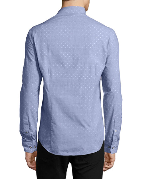 Dobby-Dot Slim Shirt, Blue