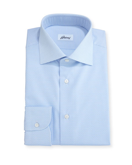 Brioni Geometric-Print Dress Shirt, White