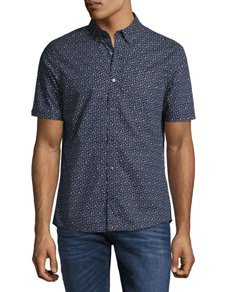 Michael Kors Otis Geo-Print Slim-Fit Short-Sleeve Shirt, Navy