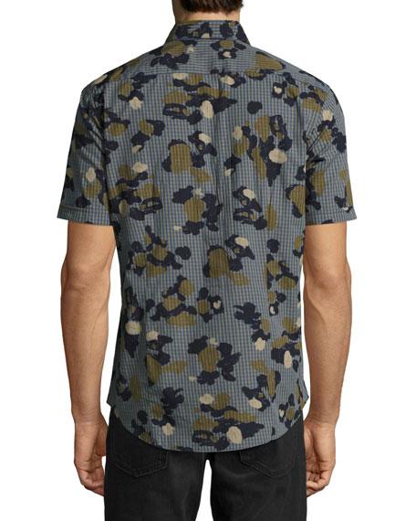 Drake Slim-Fit Camouflage Check Cotton Shirt, Green