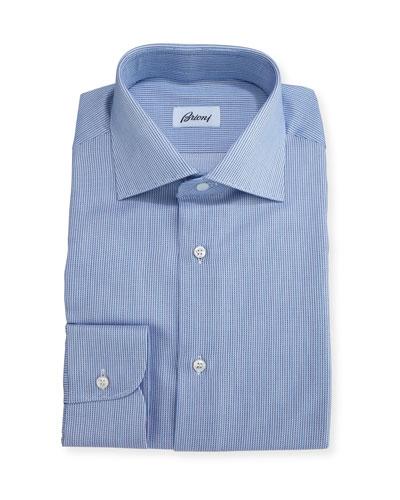 Narrow-Stripe Dress Shirt, Blue