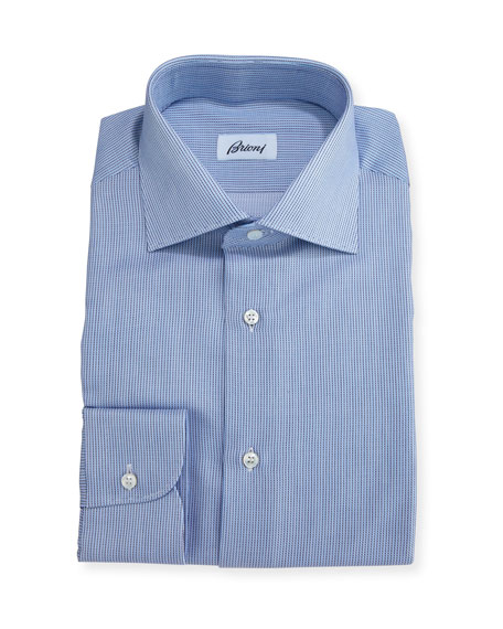 Narrow-Stripe Dress Shirt, Blue