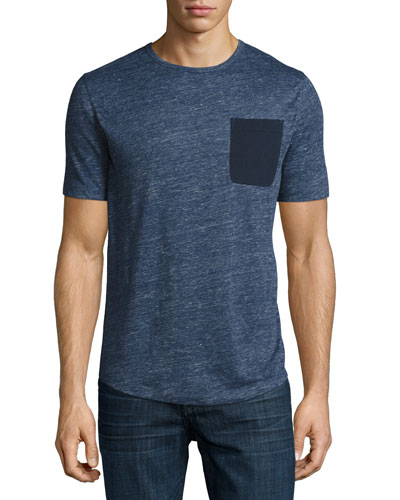 Linen Pocket Crewneck T-Shirt, Navy