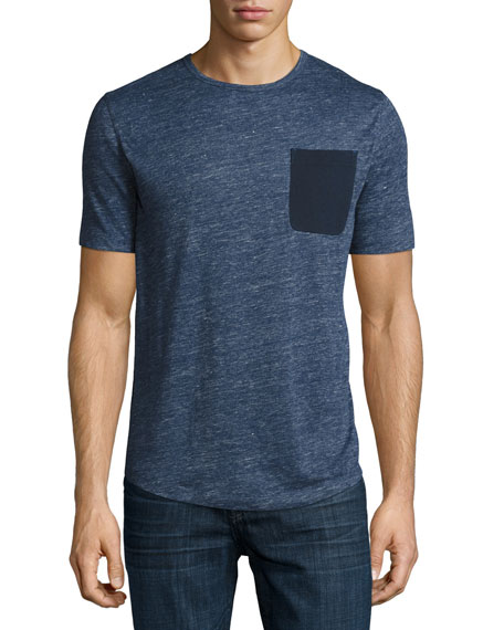 Michael Kors Linen Pocket Crewneck T-Shirt, Navy
