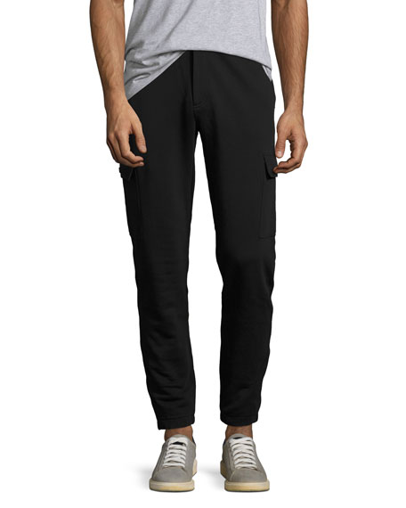 French Terry Cargo Sweatpants, Black