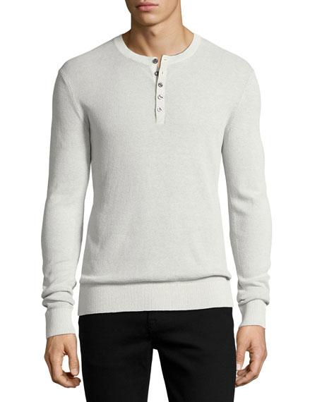 Michael Kors Linen-Cotton Waffle Henley Shirt, Gray