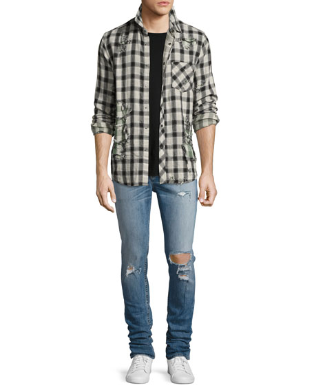 Sartor Distressed Slouchy-Skinny Jeans, Blue
