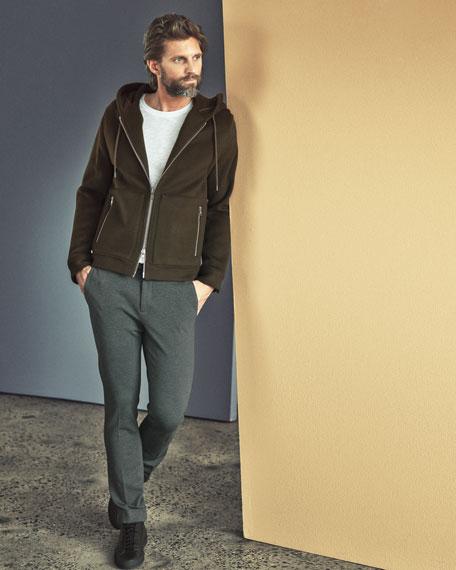 Wool Felt Zip-Front Hoodie