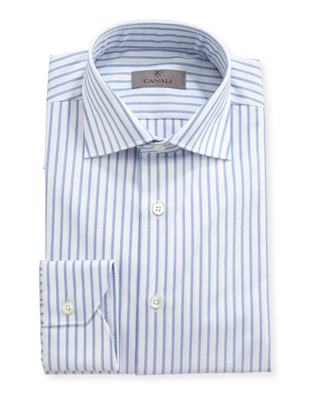 Canali Impeccabile Oxford-Stripe Dress Shirt, White