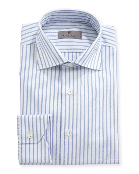 Impeccabile Oxford-Stripe Dress Shirt, White