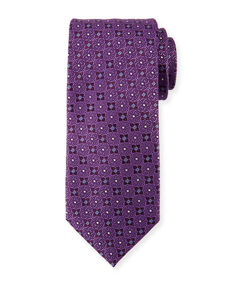 Canali Four Petals Silk Tie, Purple