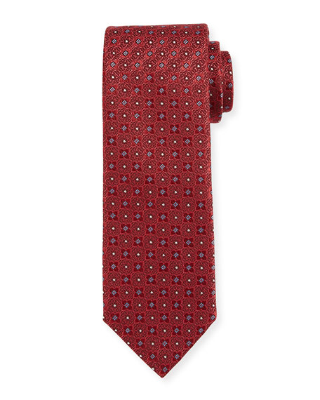 Canali Four-Petal Silk Tie, Red