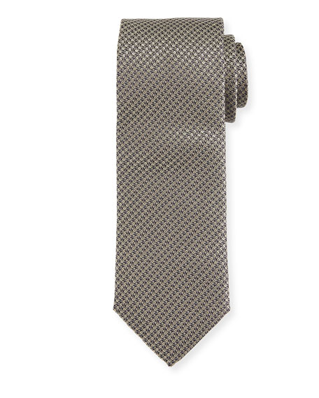 Canali Cable-Weave Silk Tie, Gold