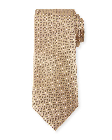 Canali Micro-Dot Silk Tie, Neutral (Tan)