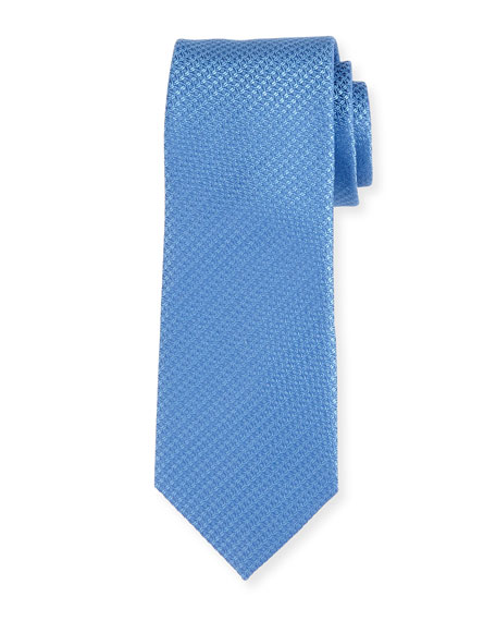 Canali Cable-Weave Silk Tie, Blue