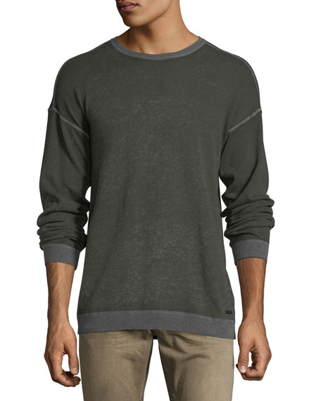 John Varvatos Star USA Rib-Trimmed Reverse-Printed Sweater