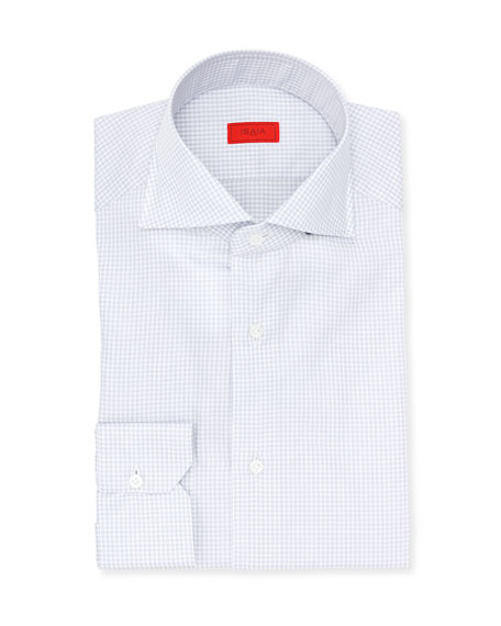 Gingham Check Cotton Dress Shirt