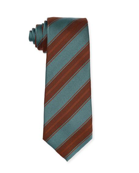Isaia Diagonal-Stripe Silk Tie