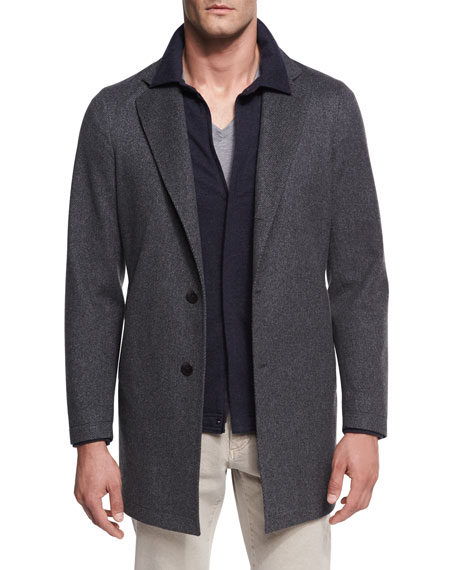 Loro Piana Parkway Tweed Overcoat, Gray