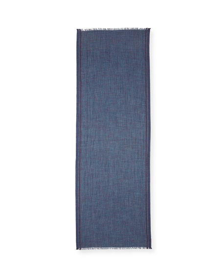 Abertay Striped-Edge Cashmere-Silk Scarf