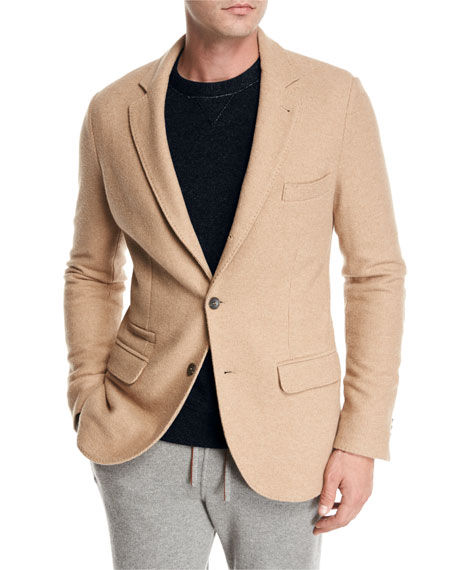 Camel Jersey Three-Button Blazer