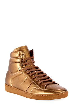 Saint Laurent Men's SL/10H Signature Court Classic Metallic Leather High-Top Sneakers, Gold
