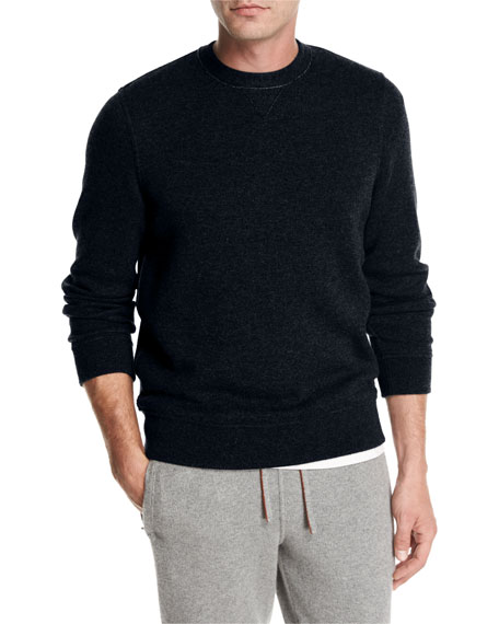 Loro Piana Cashmere-Nylon Jersey Crewneck Sweater