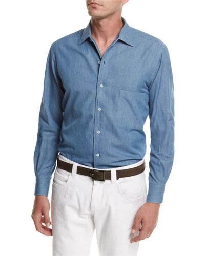 Cotton Flannel Chambray Shirt, Medium Blue