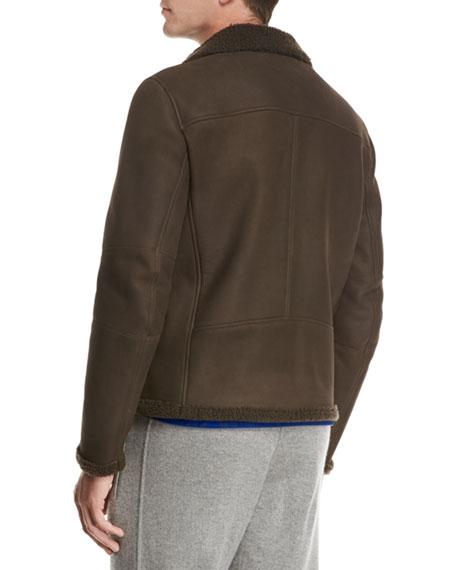 Shearling Moto Jacket, Brown