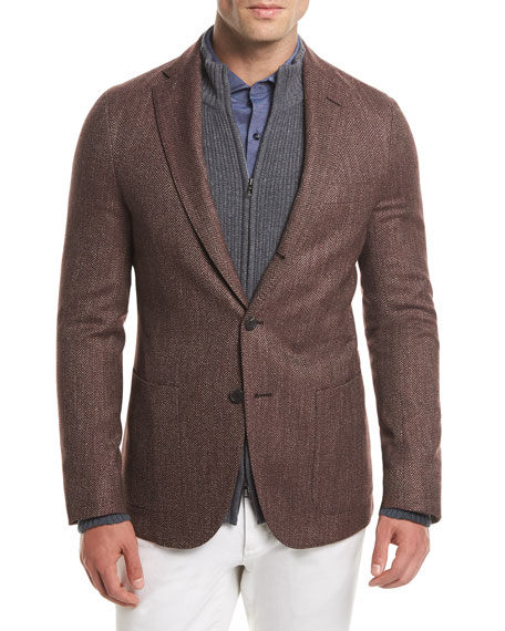 Loro Piana Andorra Chevron Three-Button Blazer