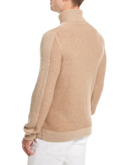 Cable-Knit Camel-Hair Turtleneck