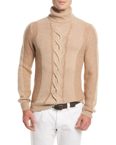 Loro Piana Cable-Knit Camel-Hair Turtleneck