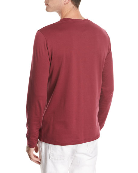 Long-Sleeve Cotton Crewneck T-Shirt, Red