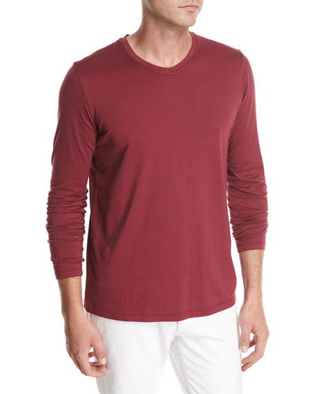 Long-Sleeve Cotton Crewneck T-Shirt, Red