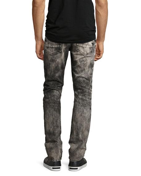 Demon Bleached Moto Slim-Straight Jeans, Black