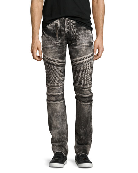 PRPS Demon Bleached Moto Slim-Straight Jeans, Black