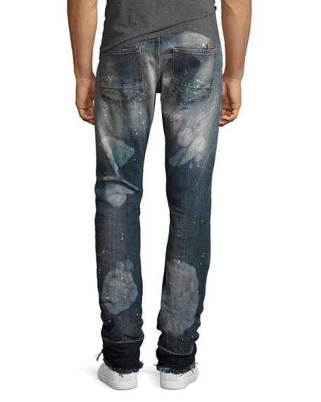 Demon Stitched & Ripped Slim-Straight Jeans, Bathing Suit (Indigo)