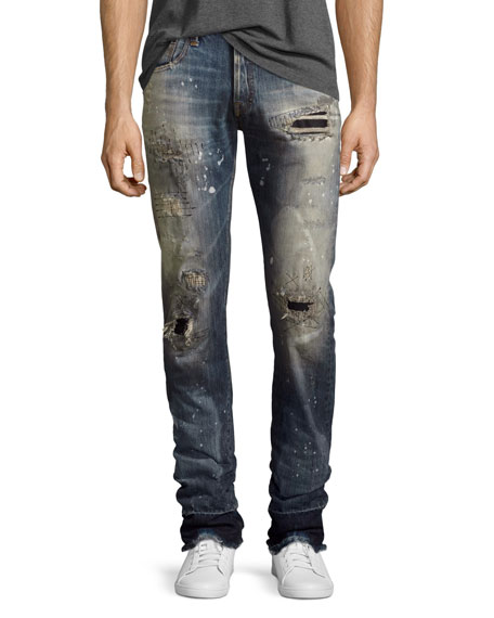 PRPS Demon Stitched & Ripped Slim-Straight Jeans, Bathing