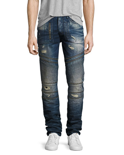 Demon Distressed Moto Slim-Straight Jeans, Camping (Dark Blue)