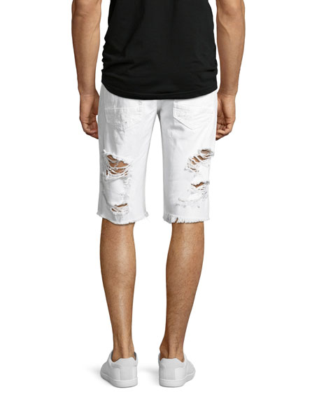 Big Splash Ripped Denim Shorts, White