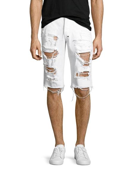 Big Splash Ripped Denim Shorts, White