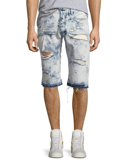 PRPS Joy Ride Bleached Shorts, Light Blue