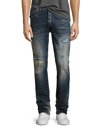 Demon Distressed Slim-Straight Jeans, Ice Cream (Dark Blue)