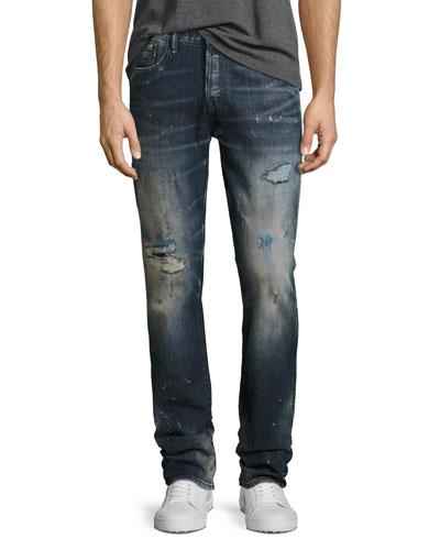 Demon Distressed Slim-Straight Jeans, Ice Cream (Dark Blue)