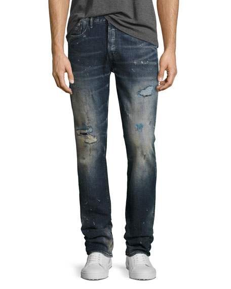 PRPS Demon Distressed Slim-Straight Jeans, Ice Cream (Dark